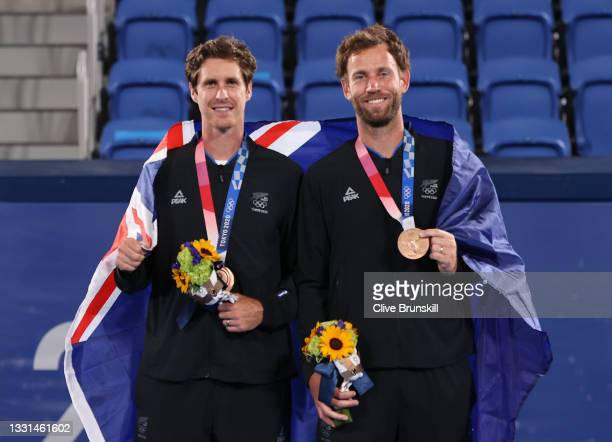 Bronze medalists Marcus Daniell of Team New Zealand and Michael Venus of Team New Zealand pose with their bronze medals for Tennis Men's Doubles on...
