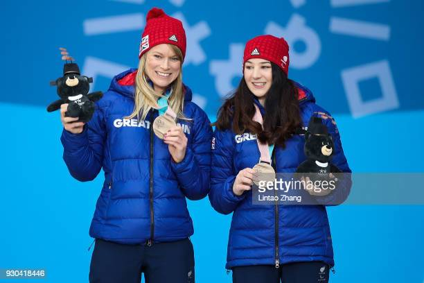 Bronze Medalists Menna Fitzpatrick and her guide Jennifer Kehow of Great Britain pose during the victory ceremony of Women's SuperG Visually Impaired...