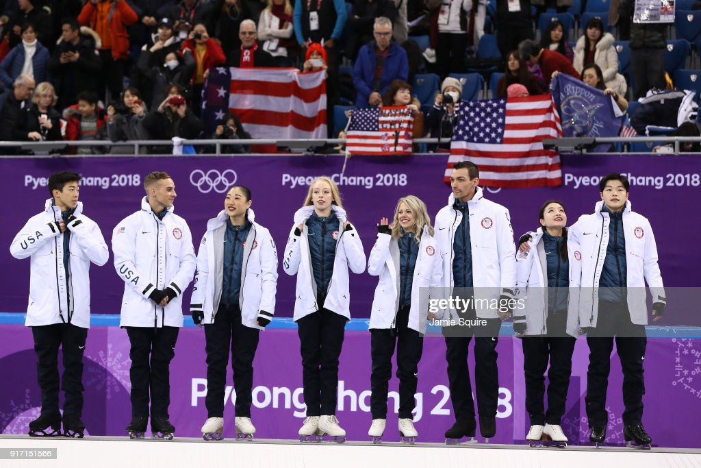 Bronze medalists Nathan Chen, Adam Rippon, Mirai Nagasu, Bradie Tennell, Alexa Scimeca Knierim, Chris Knierim, Alex Shibutani, Maia Shibutani and Alex Shibutani of the United States stand on the podium during the victory ceremony after the Figure Skating Team Event on day three of the PyeongChang 2018 Winter Olympic Games at Gangneung Ice Arena on February 12, 2018 in Gangneung, South Korea.