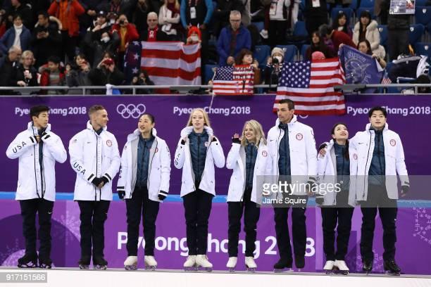 Bronze medalists Nathan Chen Adam Rippon Mirai Nagasu Bradie Tennell Alexa Scimeca Knierim Chris Knierim Alex Shibutani Maia Shibutani and Alex...