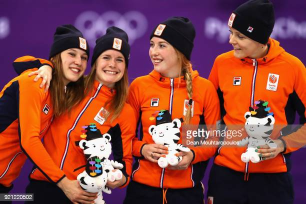 Bronze medalists Netherlands pose during the victory ceremony for the Ladies Short Track Speed Skating 3000m Relay on day eleven of the PyeongChang...
