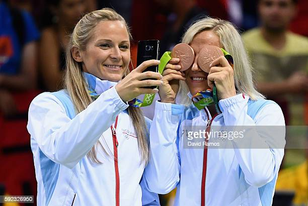 Bronze medalists of Norway pose on the podium during the medal ceremony for the Women's Handball contest at Future Arena on Day 15 of the Rio 2016...