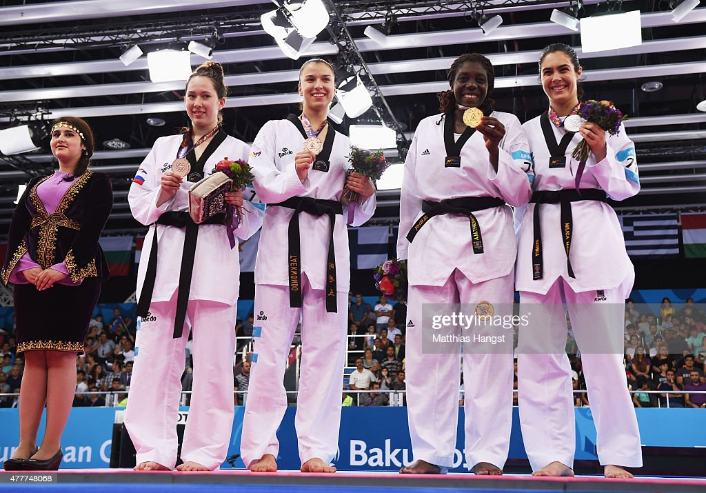 Bronze medalists Olga Ivanova of Russia and Iva Rados of Croatia, gold medalist Gwladys Epangue of France and silver medalist Milica Mandic of Serbia pose during the medal ceremony for the Women's +67kg Taekwondo on day seven of the Baku 2015 European Games at the Crystal Hall on June 19, 2015 in Baku, Azerbaijan.