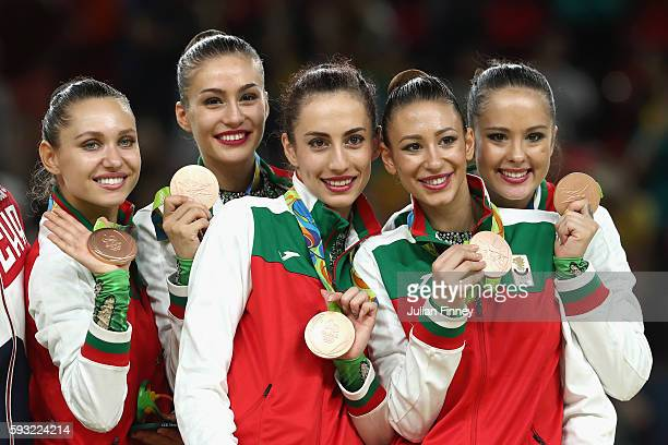 Bronze medalists Reneta Kamberova Lyubomira Kazanova Mihaela Maevska Tsvetelina Naydenova and Hristiana Todorova of Bulgaria celebrate during the...