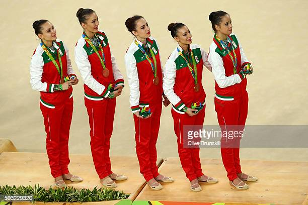Bronze medalists Reneta Kamberova Lyubomira Kazanova Mihaela Maevska Tsvetelina Naydenova and Hristiana Todorova of Bulgaria stand on the podium...