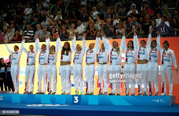 Bronze medalists Russia celebrate during the medal ceremony for the Women's Water Polo on day fifteen of the Budapest 2017 FINA World Championships...