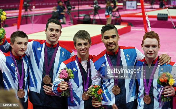 Bronze medalists Sam Oldham Kristian Thomas Max Whitlock Louis Smith and Daniel Purvis after the medal ceremony in the Artistic Gymnastics Men's Team...