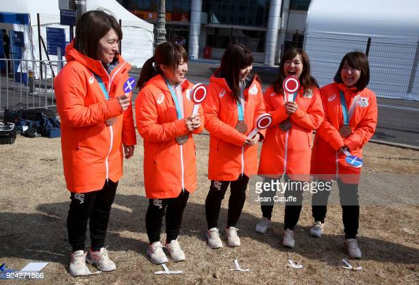 Bronze medalists Satsuki Fujisawa Chinami Yoshida Yumi Suzuki Yurika Yoshida Mari Motohashi of Japan are interviewed by japan tv following the...
