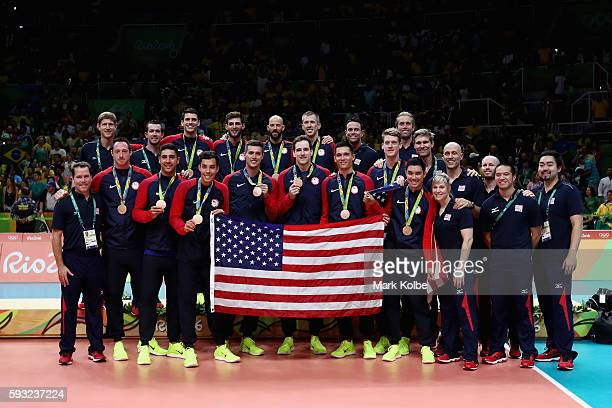 Bronze medalists team United States celebrate during the medal ceremonyl on Day 16 of the Rio 2016 Olympic Games at Maracanazinho on August 21 2016...