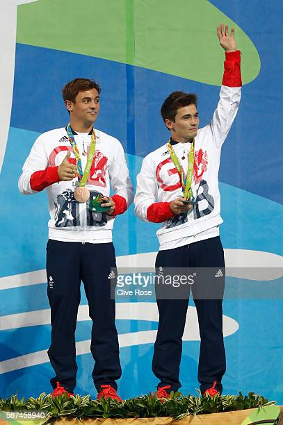 Bronze medalists Tom Daley and Daniel Goodfellow of Great Britain pose on the podium during the medal ceremony for the Men's Diving Synchronised 10m...