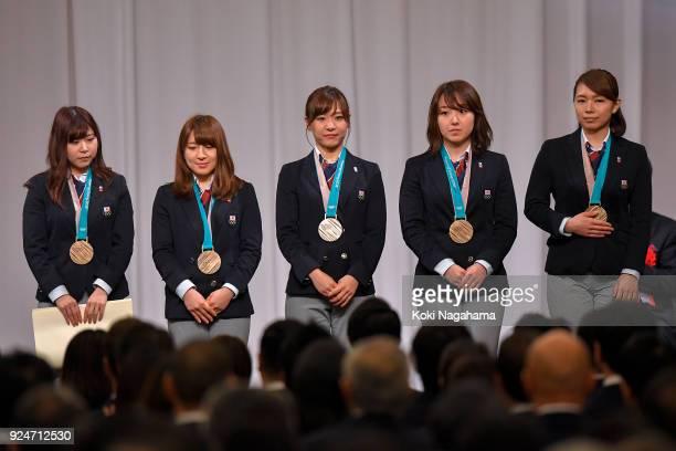 Bronze medalists Yurika Yoshida Yumi Suzuki Chinami Yoshida Satsuki Fujisawa and Mari Motohashi of Curlers Japan attend the PyeongChang Winter...