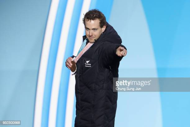 Bronze medallist Adam Hall of New Zealand is seen after the medal ceremony for the Alpien Skiing Men's Super Combined Standing on day six of the...