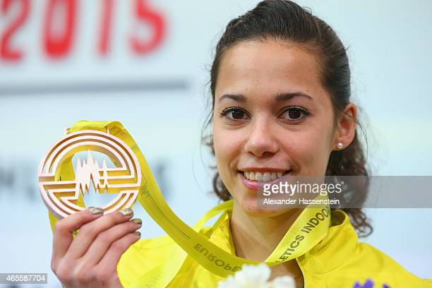 Bronze medallist Angelica Bengtsson of Sweden on the podium during the medal ceremony for Women's Pole Vault during day three of the 2015 European...