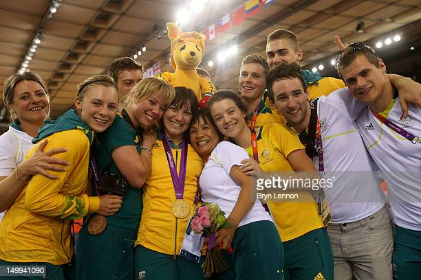 Bronze Medallist Annette Edmondson of Australia in the Women's Omnium Track Cycling celebrates with Gold medallist Anna Meares of Australia in the...