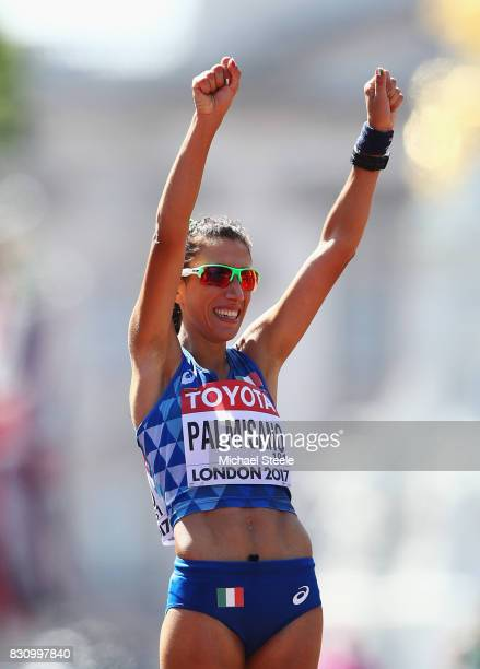 Bronze medallist Antonella Palmisano of Italy celebrates after the Women's 20km Race Walk final during day ten of the 16th IAAF World Athletics...