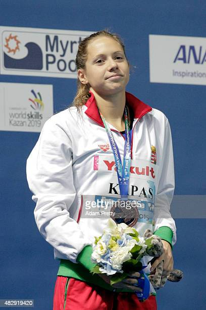 Bronze medallist Boglarka Kapas of Hungary poses during the medal ceremony for the Women's 1500m Freestyle Final on day eleven of the 16th FINA World...