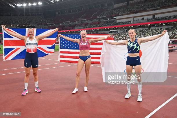 Bronze medallist Britain's Holly Bradshaw, gold medallist USA's Katie Nageotte and silver medallist Russia's Anzhelika Sidorova pose after the...
