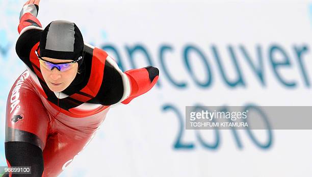 Bronze medallist, Canada's Kristina Groves, competes in the Ladies' 3000 m Speedskating event at Richmond Olympic Oval in Richmond outside Vancouver...