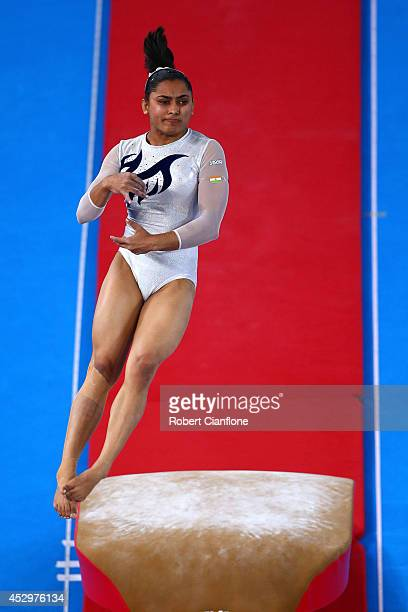Bronze medallist Dipa Karmakar of India competes in the Women's Vault Final during day eight of the Glasgow 2014 Commonwealth Games on July 31 2014...