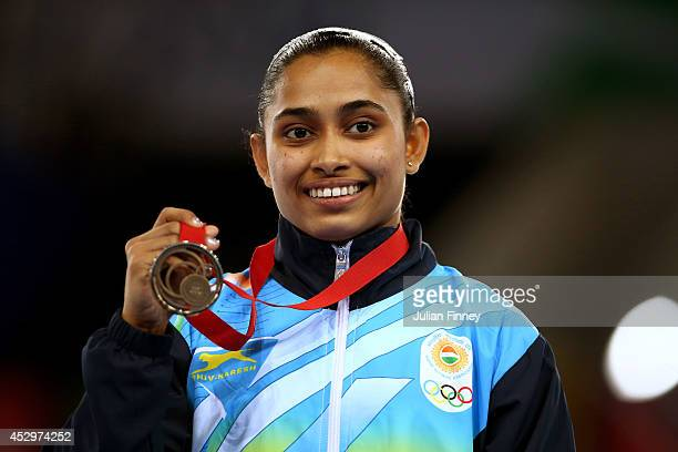 Bronze medallist Dipa Karmakar of India poses during the medal ceremony for the Women's Vault Final during day eight of the Glasgow 2014 Commonwealth...