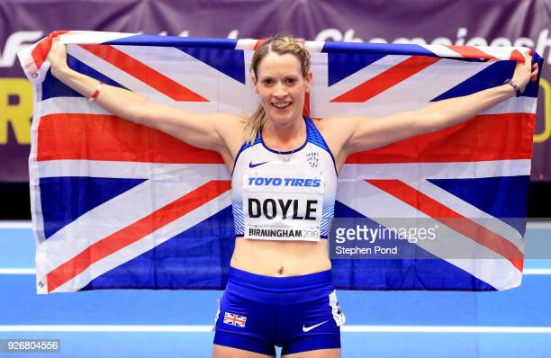 Bronze Medallist Eilidh Doyle of Great Britain celebrates after the 400 Metres Womens Final during the IAAF World Indoor Championships on Day Three...