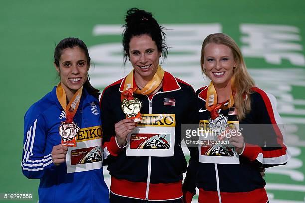 Bronze medallist Ekaterini Stefanidi of Greece gold medallist Jennifer Suhr of the United States and silver medallist Sandi Morris of the United...