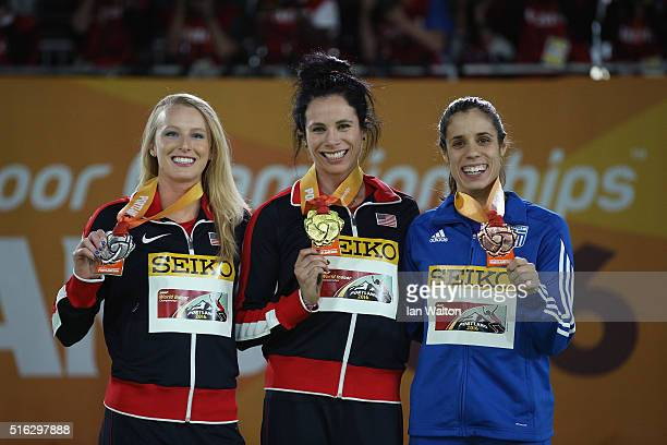 Bronze medallist Ekaterini Stefanidi of Greece gold medallist Jennifer Suhr of the United States and silver medallist Sandi Morris of the United...
