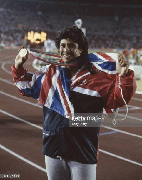 Bronze medallist Fatima Whitbread of Great Britain celebrating after the Women's Javelin Throw event on 6th August 1984 during the XXIII Olympic...