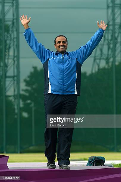 Bronze medallist Fehaid Aldeehani of Kuwait celebrates during the medal ceremony for the Men's Trap Shooting Final on Day 10 of the London 2012...