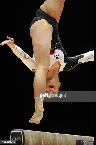 Bronze medallist Germany's Pauline Schaefer performs during the Women's balance beam Final at the 2015 World Gymnastics Championship in Glasgow...