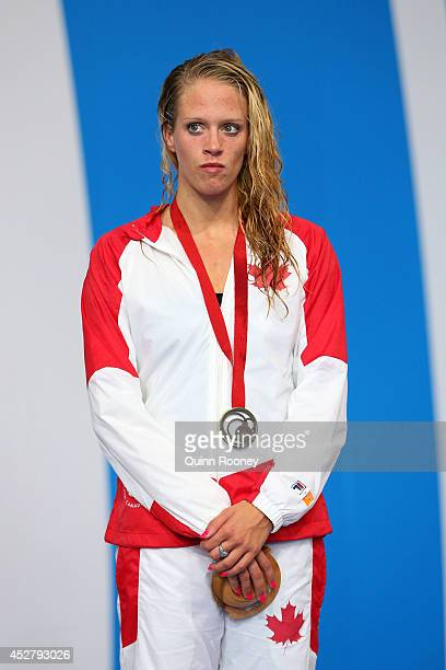 Bronze medallist Hilary Caldwell of Canada looks on during the medal ceremony for the Women's 200m Backstroke Final at Tollcross International...