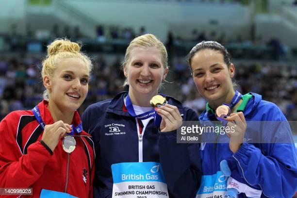 Bronze medallist Keri-Anne Payne of Stockport Metro SC, Gold medallist Rebecca Adlington of Nova Centurion SC and Silver medallist Eleanor Faulkner...
