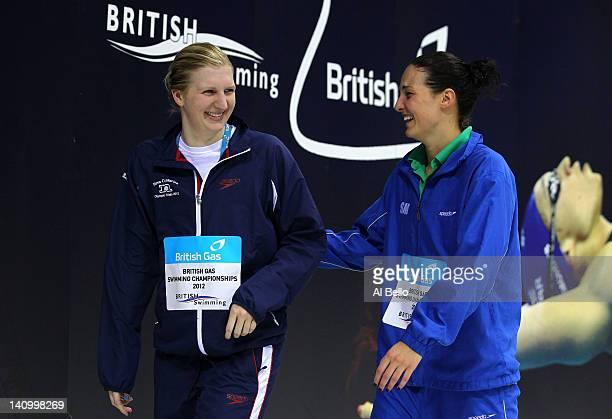 Bronze medallist Keri-Anne Payne of Stockport Metro SC shares a joke with Gold medallist Rebecca Adlington of Nova Centurion SC in the Women's 800m...