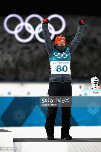 Bronze medallist Laura Dahlmeier of Germany celebrates during the victory ceremony for the Women's 15km Individual Biathlon at Alpensia Biathlon...