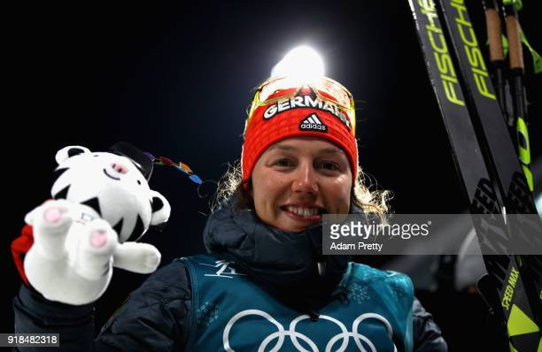 Bronze medallist Laura Dahlmeier of Germany poses during the victory ceremony for the Women's 15km Individual Biathlon at Alpensia Biathlon Centre on...