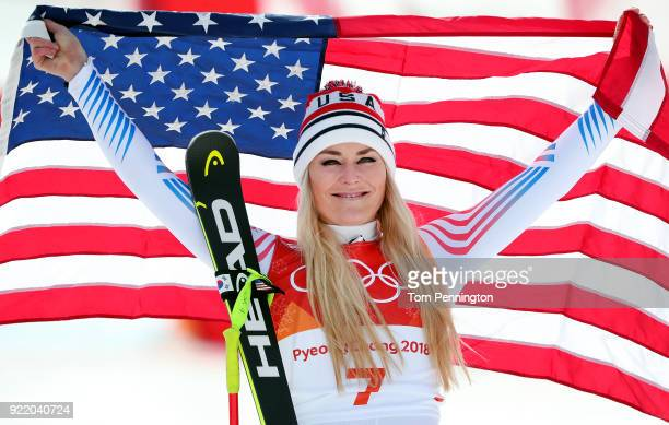 Bronze medallist Lindsey Vonn of the United States celebrates during the victory ceremony for the Ladies' Downhill on day 12 of the PyeongChang 2018...