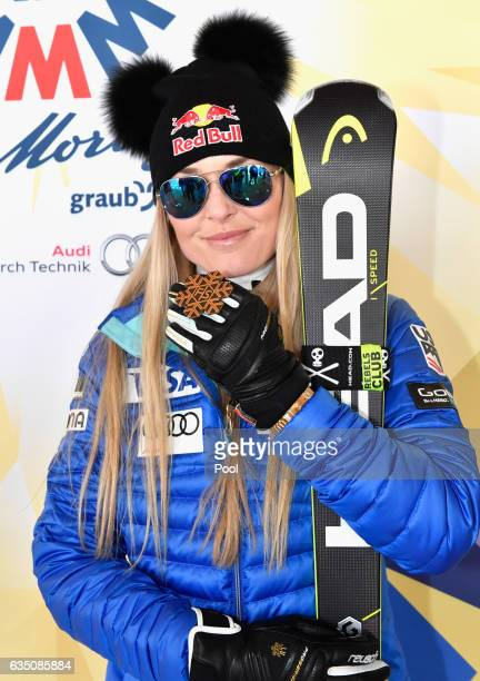 Bronze medallist Lindsey Vonn of the United States poses during the medal ceremony for the Women's Downhill during the FIS Alpine World Ski...