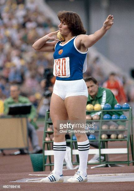 Bronze medallist Margitta Pufe of East Germany prepares to put the shot during the Summer Olympic Games in Moscow circa July 1980