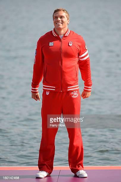 Bronze medallist Mark de Jonge of Canada celebrates during the medal ceremony for the Men's Kayak Single 200m Canoe Sprint on Day 15 of the London...