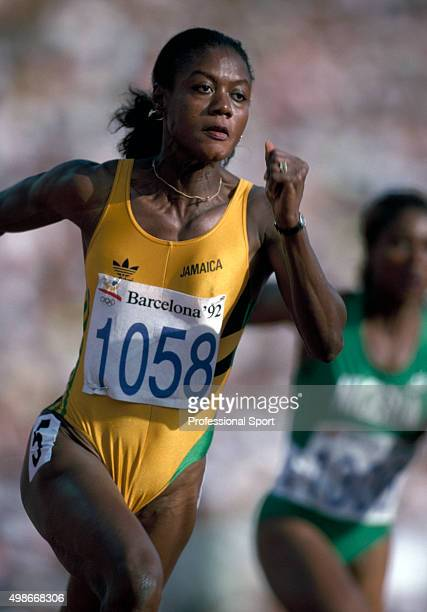Bronze medallist Merlene Ottey of Jamaica running in the women's 200 metres event during the Summer Olympic Games in Barcelona, Spain, circa 1992.
