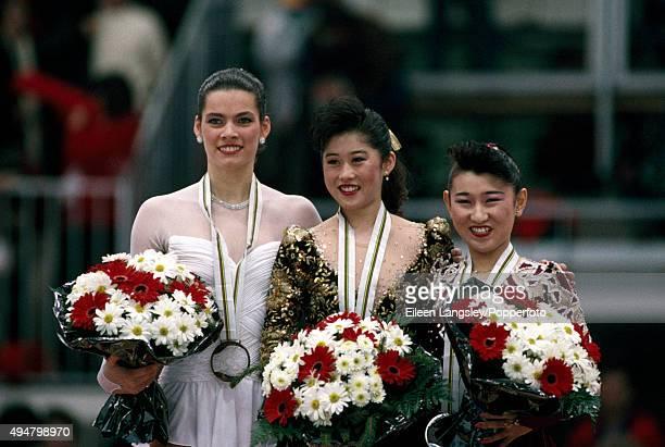 Bronze Medallist Nancy Kerrigan of the United States Gold Medallist Kristi Yamaguchi of the United States and Silver Medallist Midori Ito of Japan...