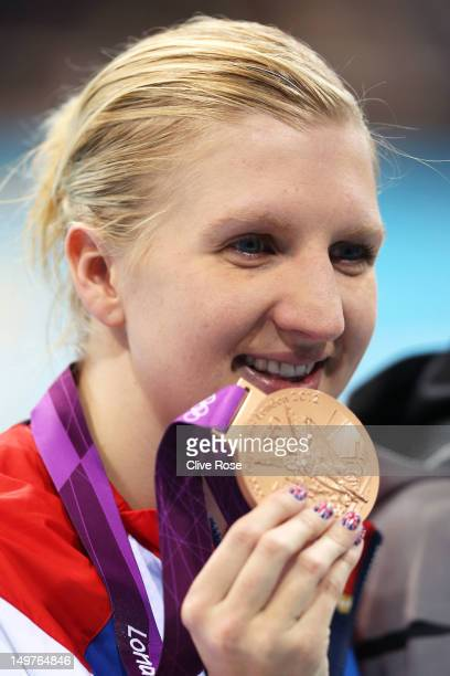 Bronze medallist Rebecca Adlington poses on the podium during the medal ceremony for the Women's 800m Freestyle on Day 7 of the London 2012 Olympic...