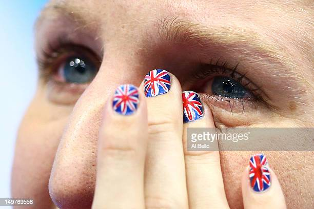 Bronze medallist Rebecca Adlington shows her emotion following the podium for the medal ceremony for the Women's 800m Freestyle on Day 7 of the...