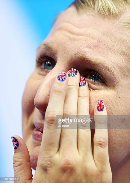 Bronze medallist Rebecca Adlington shows her emotion on the podium during the medal ceremony for the Women's 800m Freestyle on Day 7 of the London...
