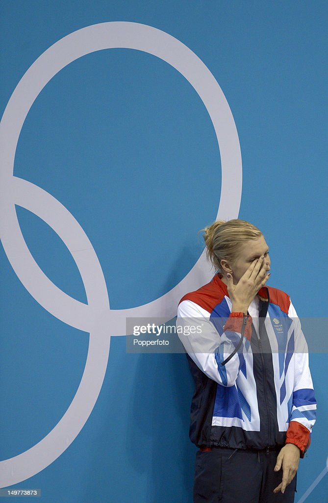 Bronze medallist Rebecca Adlington shows her emotion on the podium during the medal ceremony for the Women's 800m Freestyle on Day 7 of the London 2012 Olympic Games at the Aquatics Centre on August 3, 2012 in London, England.