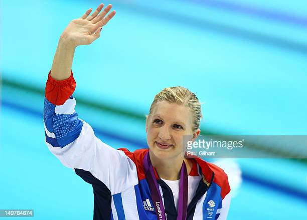 Bronze medallist Rebecca Adlington waves to the crowd following the medal ceremony for the Women's 800m Freestyle on Day 7 of the London 2012 Olympic...