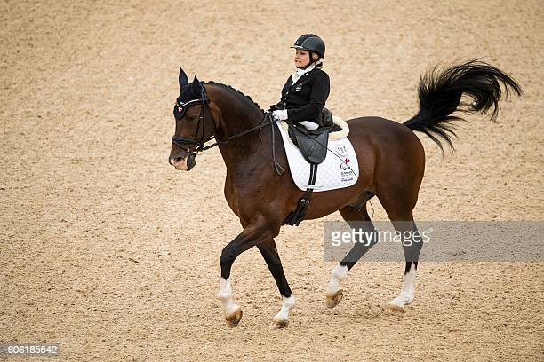 TOPSHOT Bronze Medallist Stinna Kaastrup of Denmark on Smarties compete in the Individual Freestyle Test Grade IB part of the Equestrian Dressage...