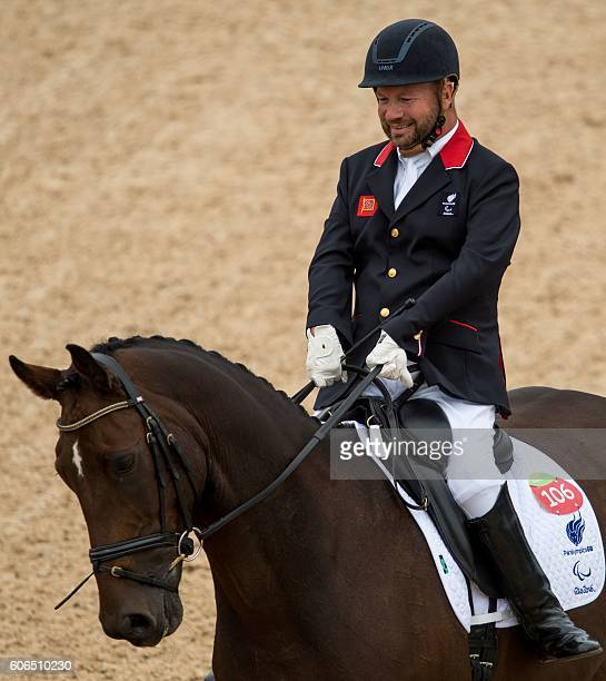 Bronze Medallist Stinna Kaastrup of Denmark on Smarties compete in the Individual Freestyle Test Grade IB part of the Equestrian Dressage event at...
