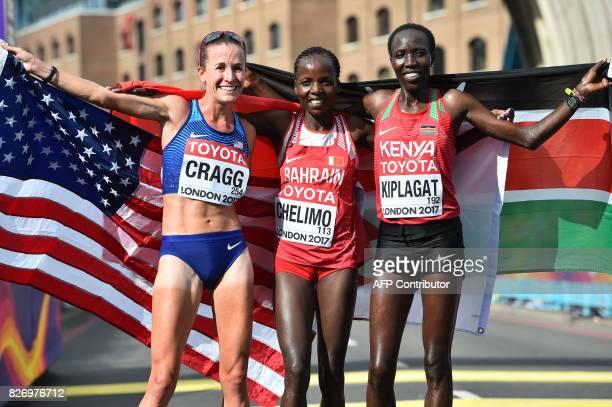 Bronze medallist US athlete Amy Cragg gold medallist Bahrain's Rose Chelimo and silver medallist Kenya's Edna Ngeringwony Kiplagat pose after the...