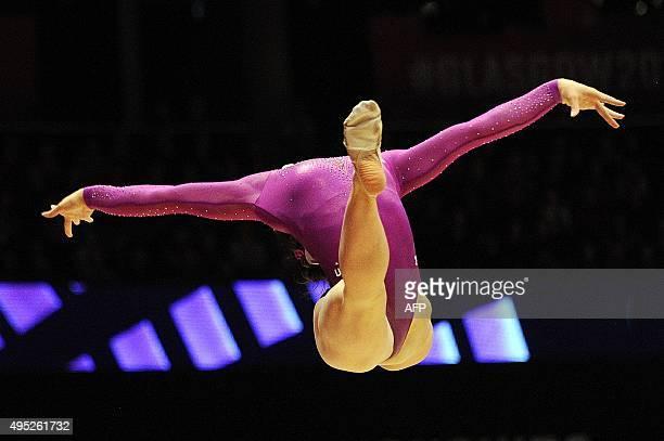 Bronze medallist US Margaret Nichols performs during the Women's Floor Final at the 2015 World Gymnastics Championship in Glasgow Scotland on...